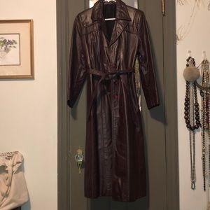 Eggplant colored leather coat